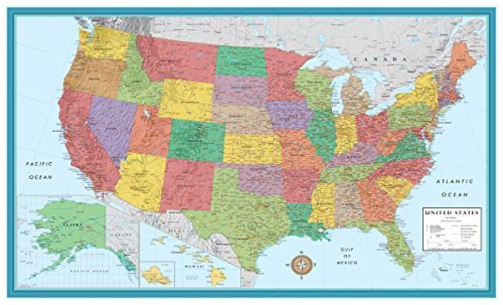 48x78 Huge United States, USA Classic Elite Wall Map ...