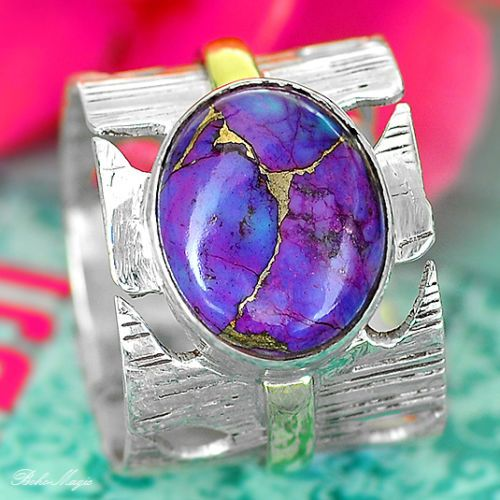 COPPER PURPLE TURQUOISE 925 STERLING SILVER RING GEMSTONE UNUSUAL UNIQUE NEW A17 | eBay