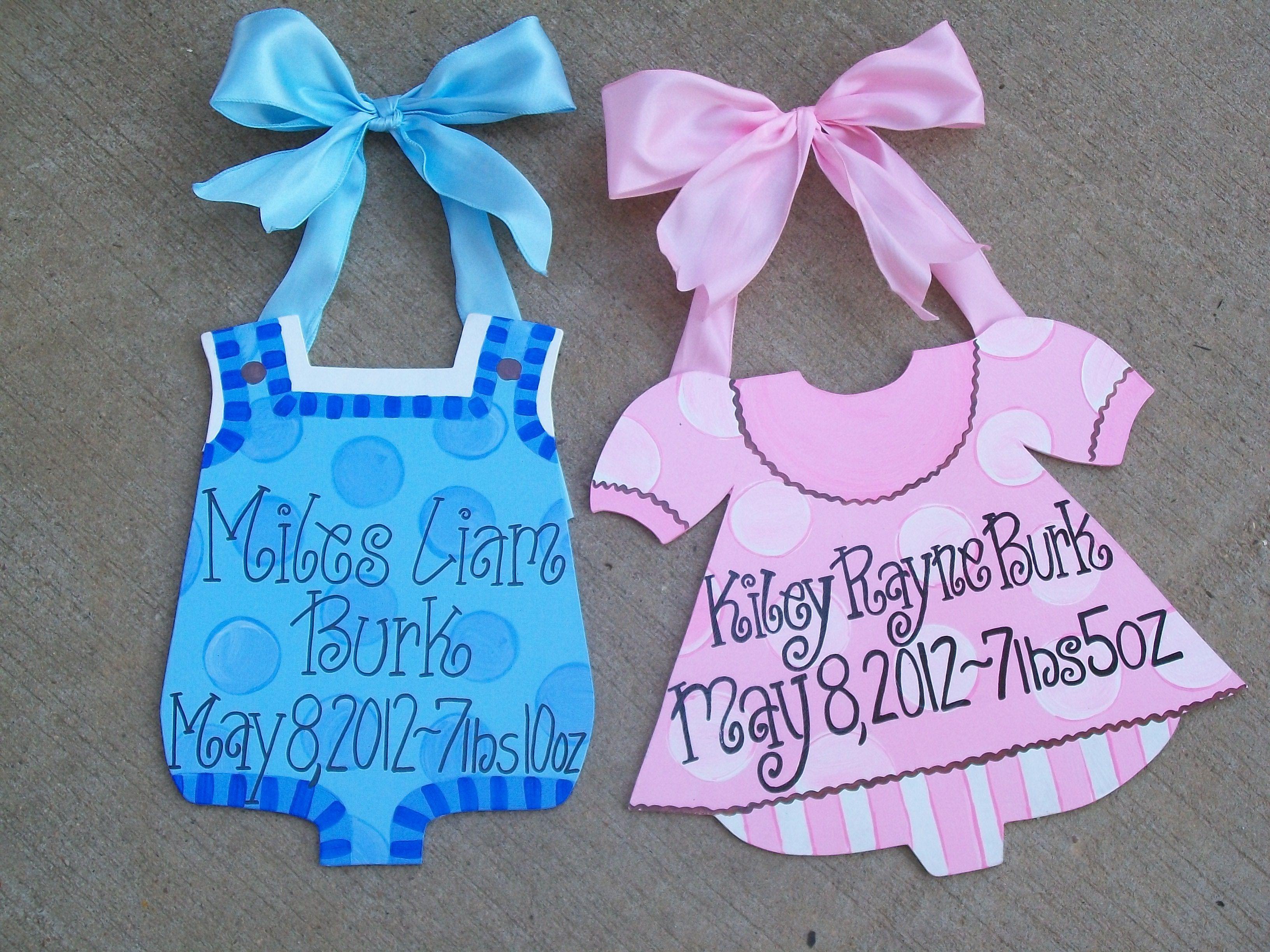 Baby Boy & Baby Girl birth announcement hospital home door hanger