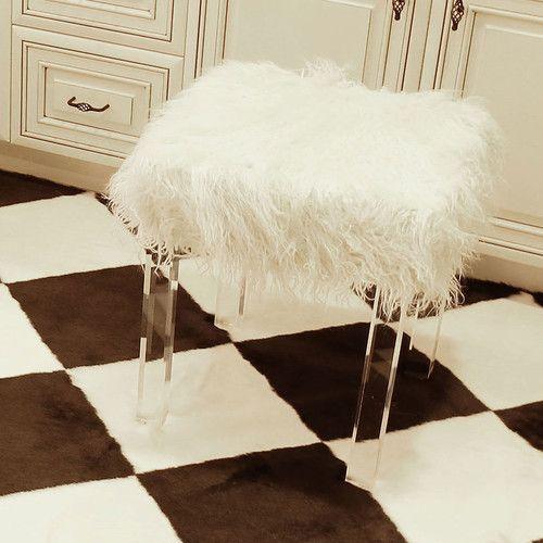 Found it at AllModern - Kidman Lamb Faux Fur Acrylic Square Leg Stool