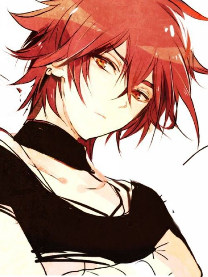 Anime Guy Cool Cute Red Hair Red Yellow Eyes Black Shirt
