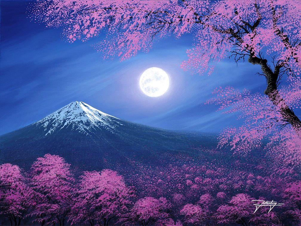Jon Rattenbury Sakura Lullaby Beautiful Moon Moon Painting Mountain Paintings