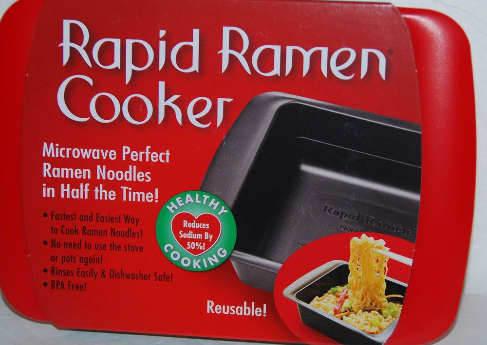 Rapid Ramen Cooker Microwave Cookware Fast And Easy New Red Reusable