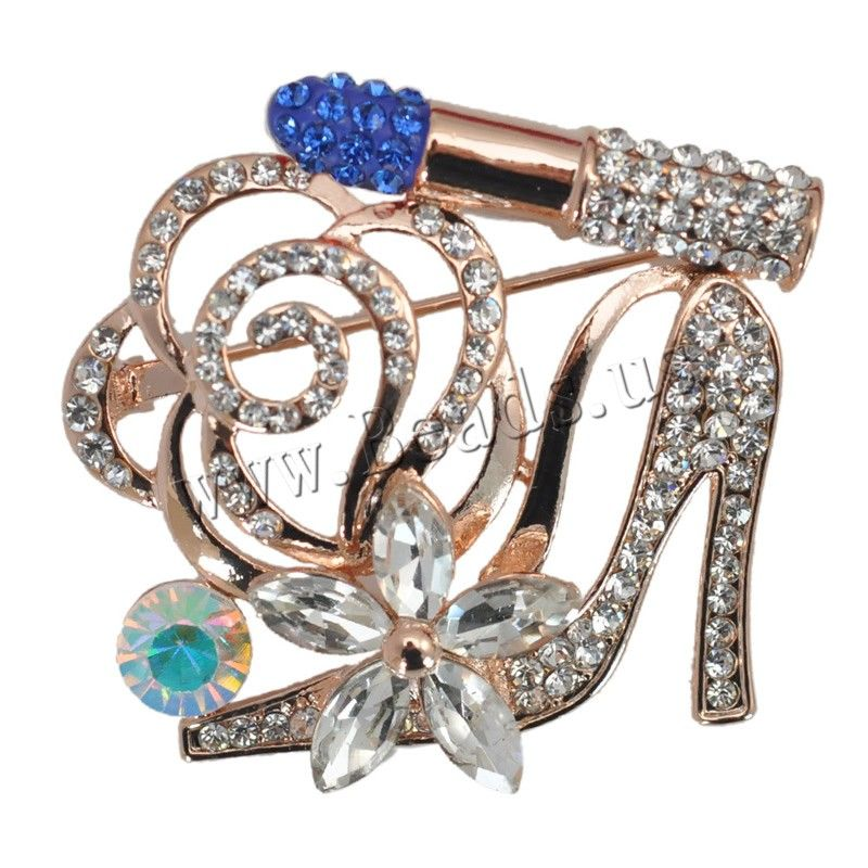 Rhinestone Brooch, Zinc Alloy, with Rhinestone Clay Pave & Crystal, Shoes, rose gold color plated, colorful plated & faceted & with rhinestone