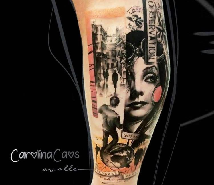 Amazing 3 colors abstract tattoo style of traveling motive