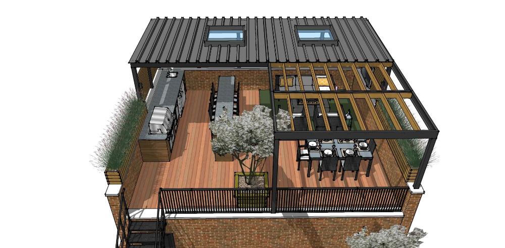 Residential Roof Deck Design Google Search In 2020 Rooftop Design Deck Design Steel Pergola