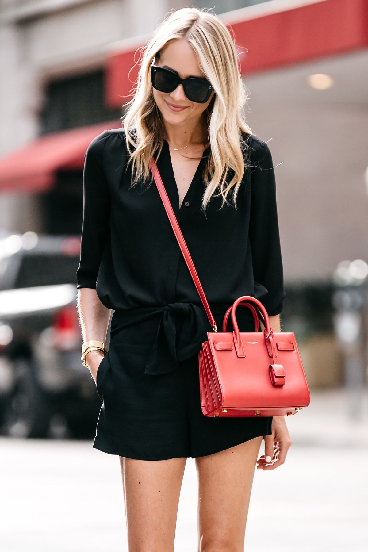 b015550fb40 Blonde Woman Wearing Nordstrom Black Blouse Nordstrom Black Tie Front Shorts  YSL Sac De Jour Nano Red Street Style Outfit Dallas Blogger Fashion Blogger
