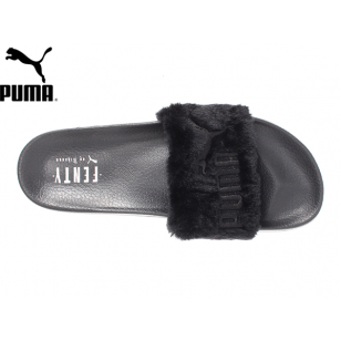 Men s Women s Puma x Rihanna Leadcat Fenty Fur Slide Sandals Black ... b829cdd90