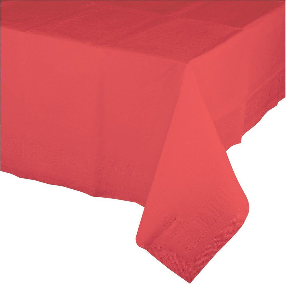 Touch Of Color 54 X 108 Tissue Tablecover Poly Backing Coral Case Of 24 Plastic Table Covers Plastic Tablecloth Plastic Tables