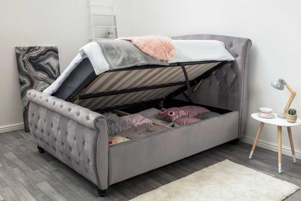 Grey King Size Sleigh Bed With Storage