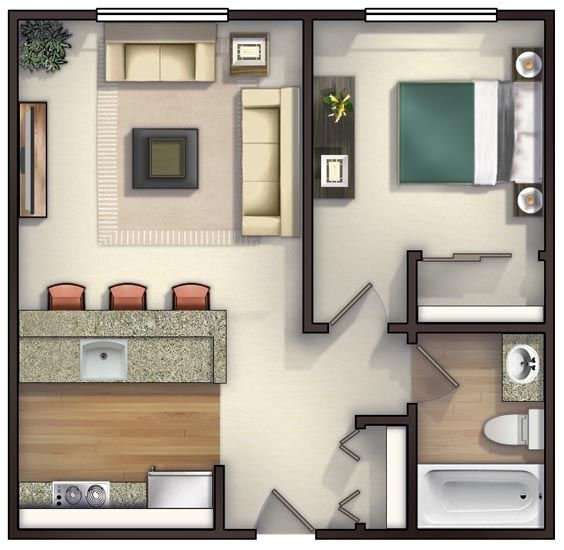 No Bedroom Apartment: Great Lay Out No Dining Area !