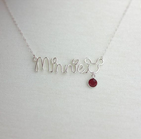 Silver or Gold Wire Name Necklace with Disney Lettering Mickey Mouse with Birthstone Custom Handcrafted Name Choose from 12 Colors