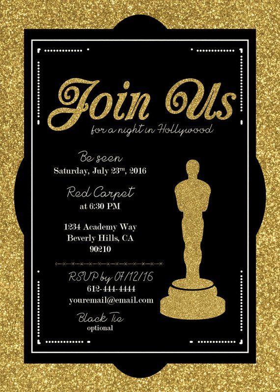Hollywood Oscar Party Invitation Academy Awards Invite Hollywood