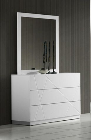Naples Contemporary 6 Drawer Dresser In White Lacquer Finish