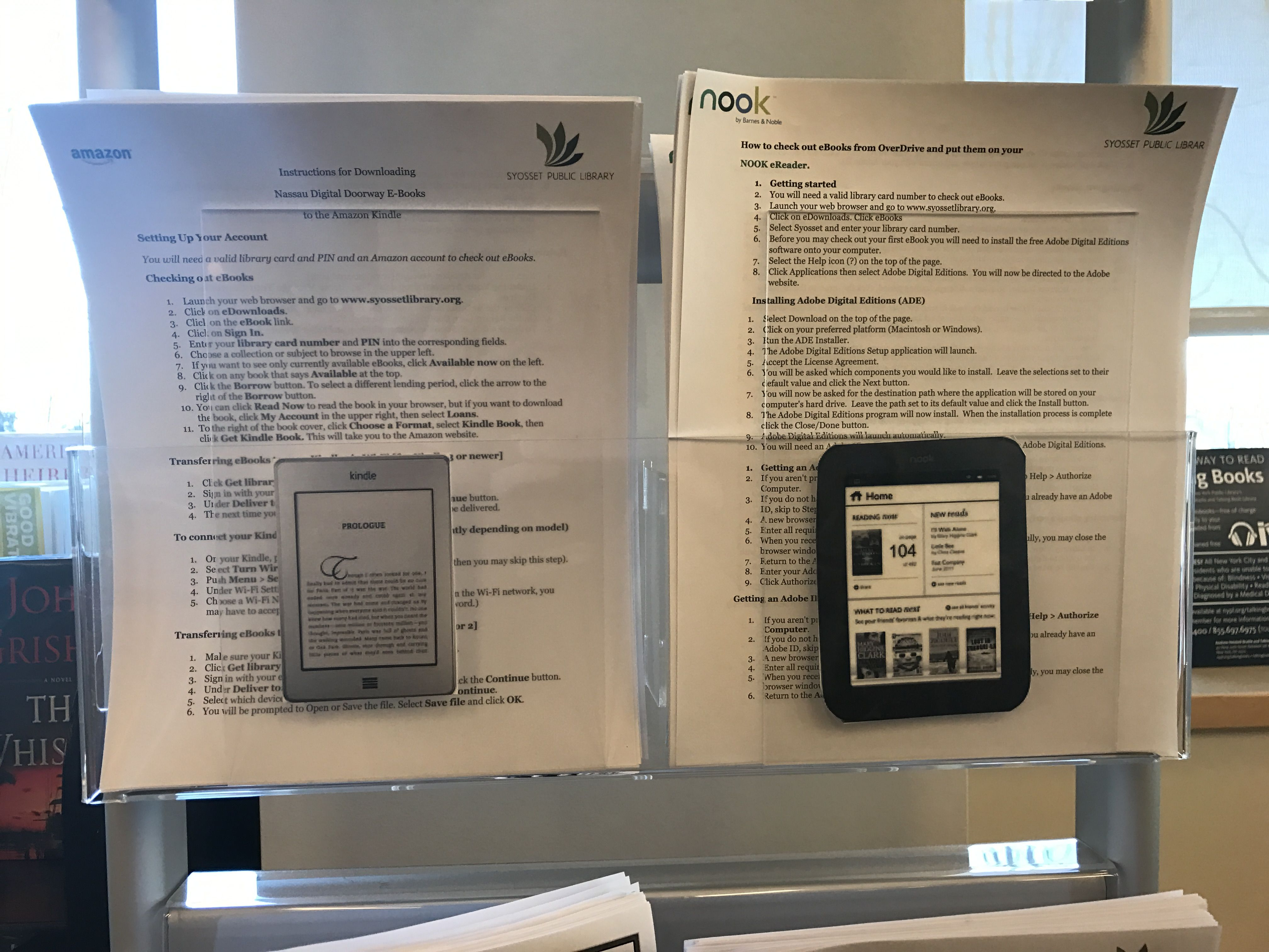 Our Amazon Kindle (paper white) and Nook (glow light