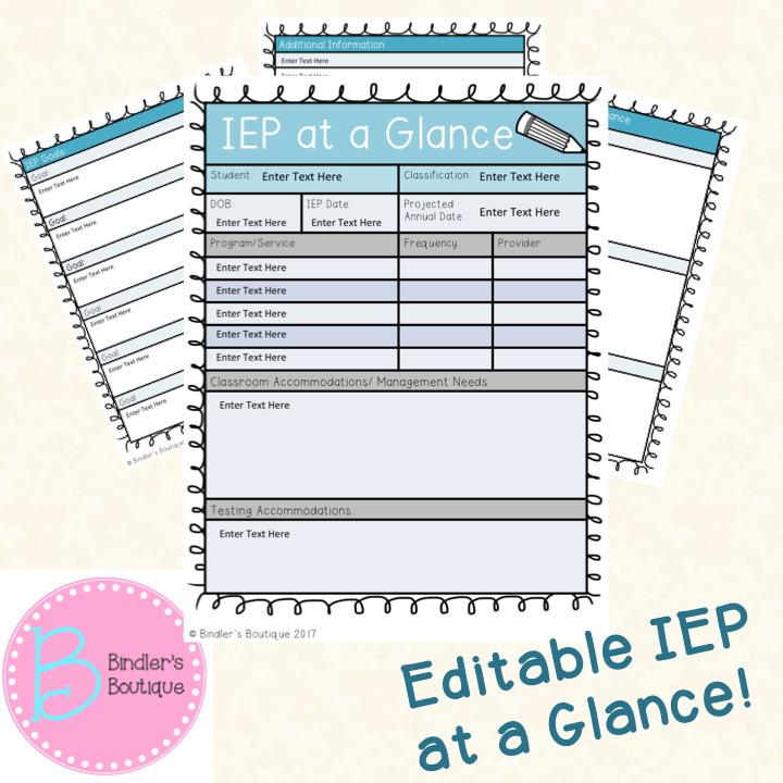 IEP at a Glance (Editable) | Resource room, Teacher and Special ...