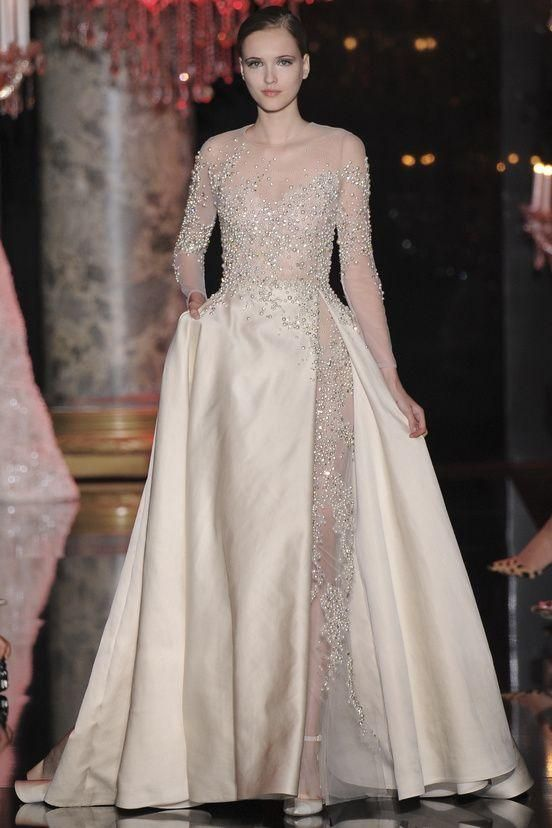 218ecef7899d Elie Saab 2016 Long Sleeve Evening Gowns Sexy Illusion Celebrity Party Gowns  Applique Beading Side Slit Overskirts Women s Prom Pageant Wear Online with  ...