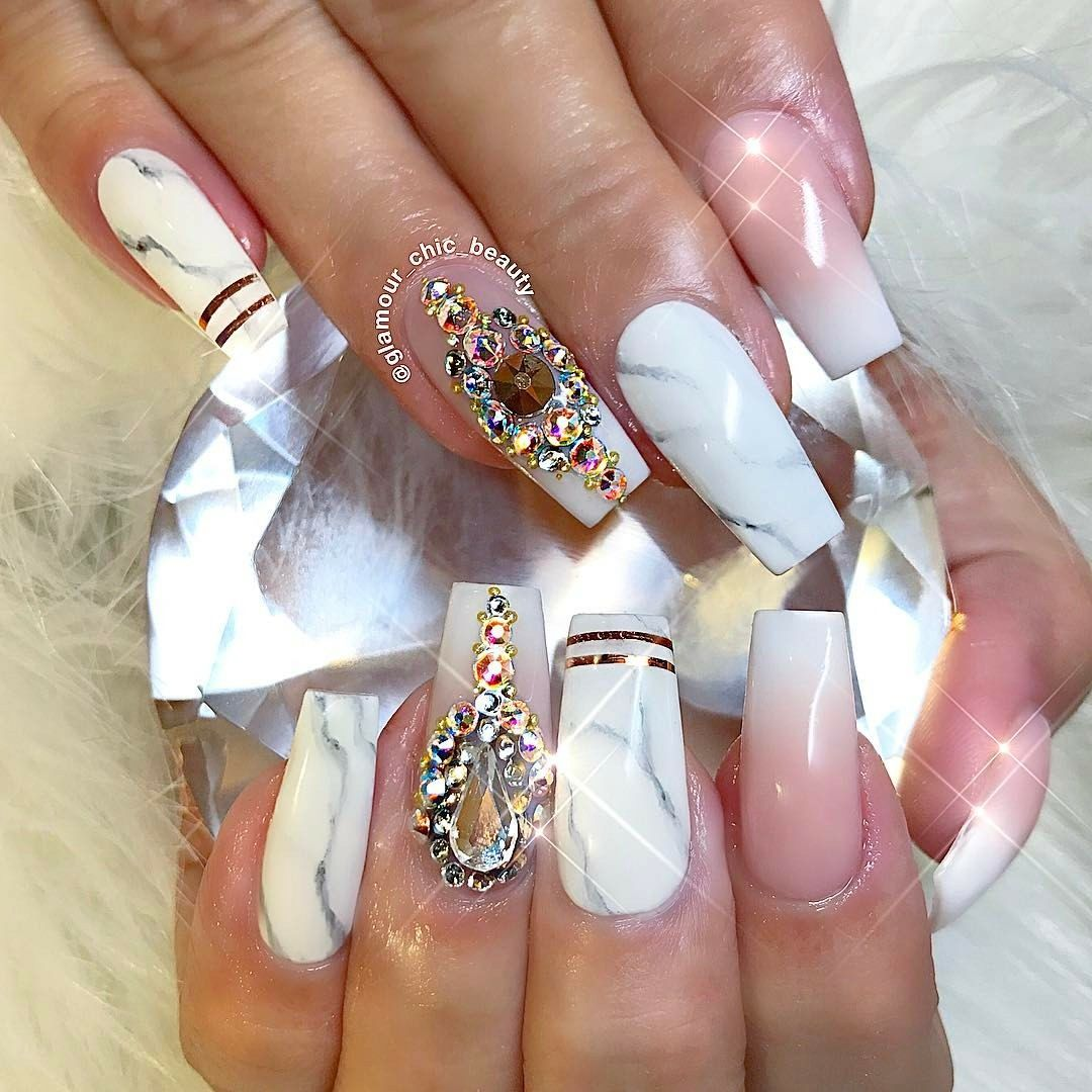 3d Nails Art Acrylic Coffin Luxury Wedding Style Inspiration Nail Designs Ideas