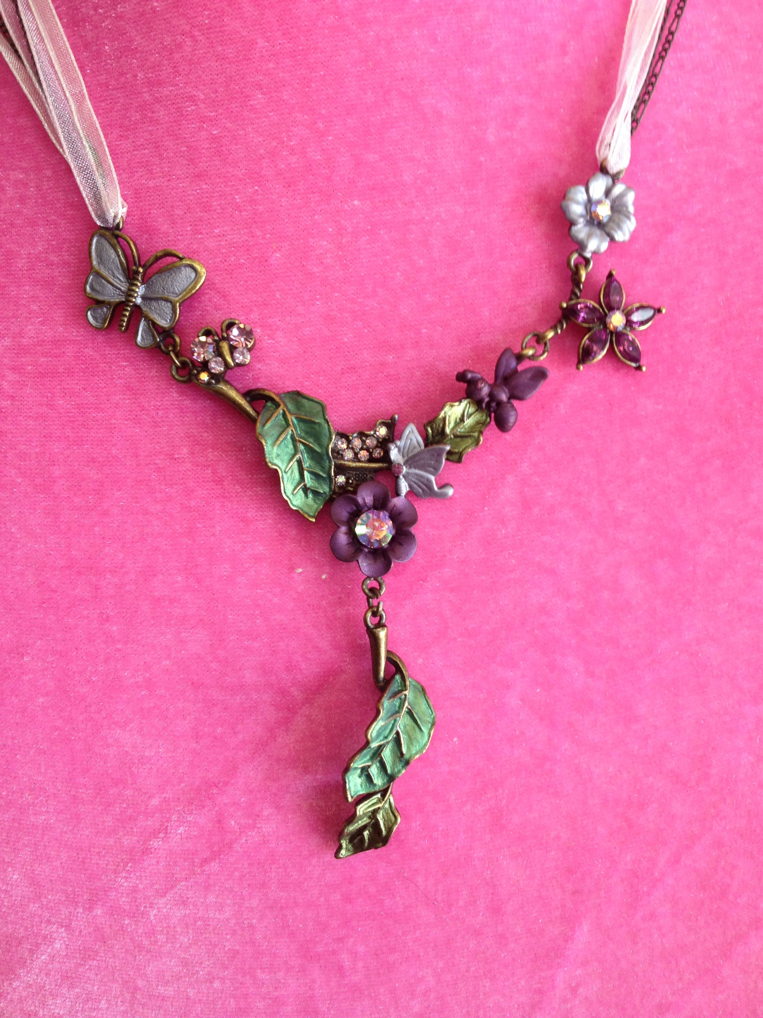 Purple and green flower and leaf necklace $19.99