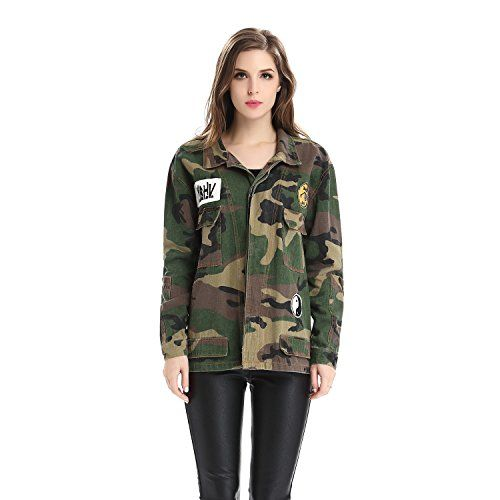 7fa62e9df8711 Escalier Women's Military Camouflage Camo Jacket Denim Coats -- Find out  more about the great item at the image link.
