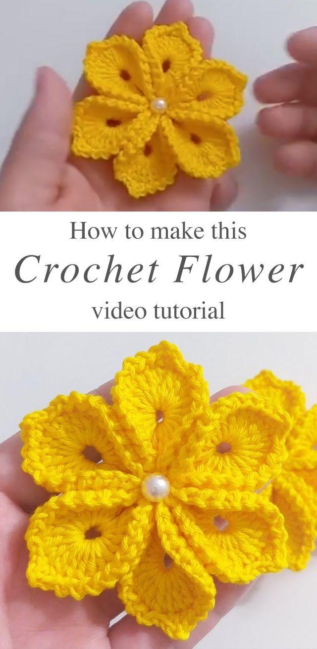 Simple Crochet Flower With 6 Petals | CrochetBeja
