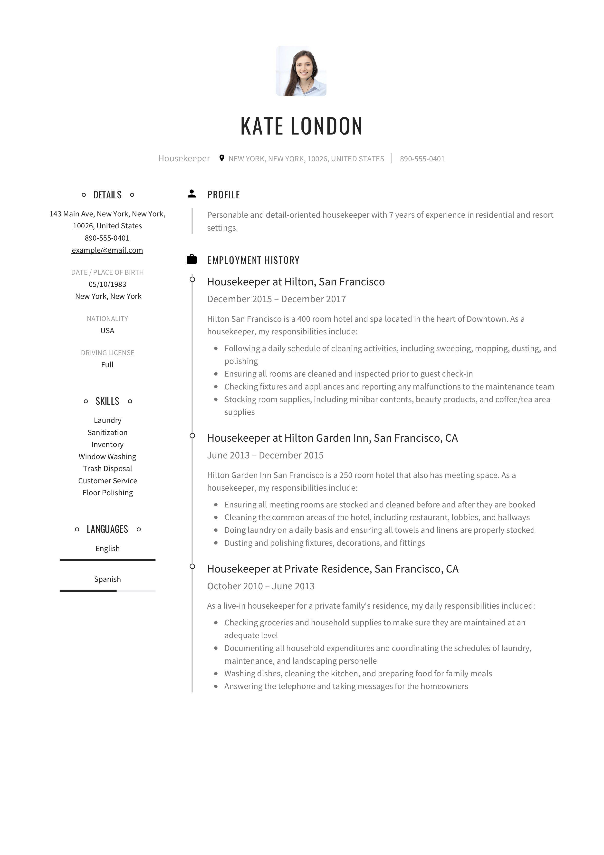 Housekeeper Resume Example In 2020 Job Resume Template Resume Guide Job Resume