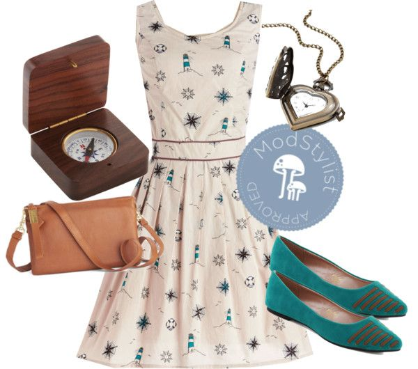 """""""Compass Home Dress"""" by modcloth on Polyvore"""