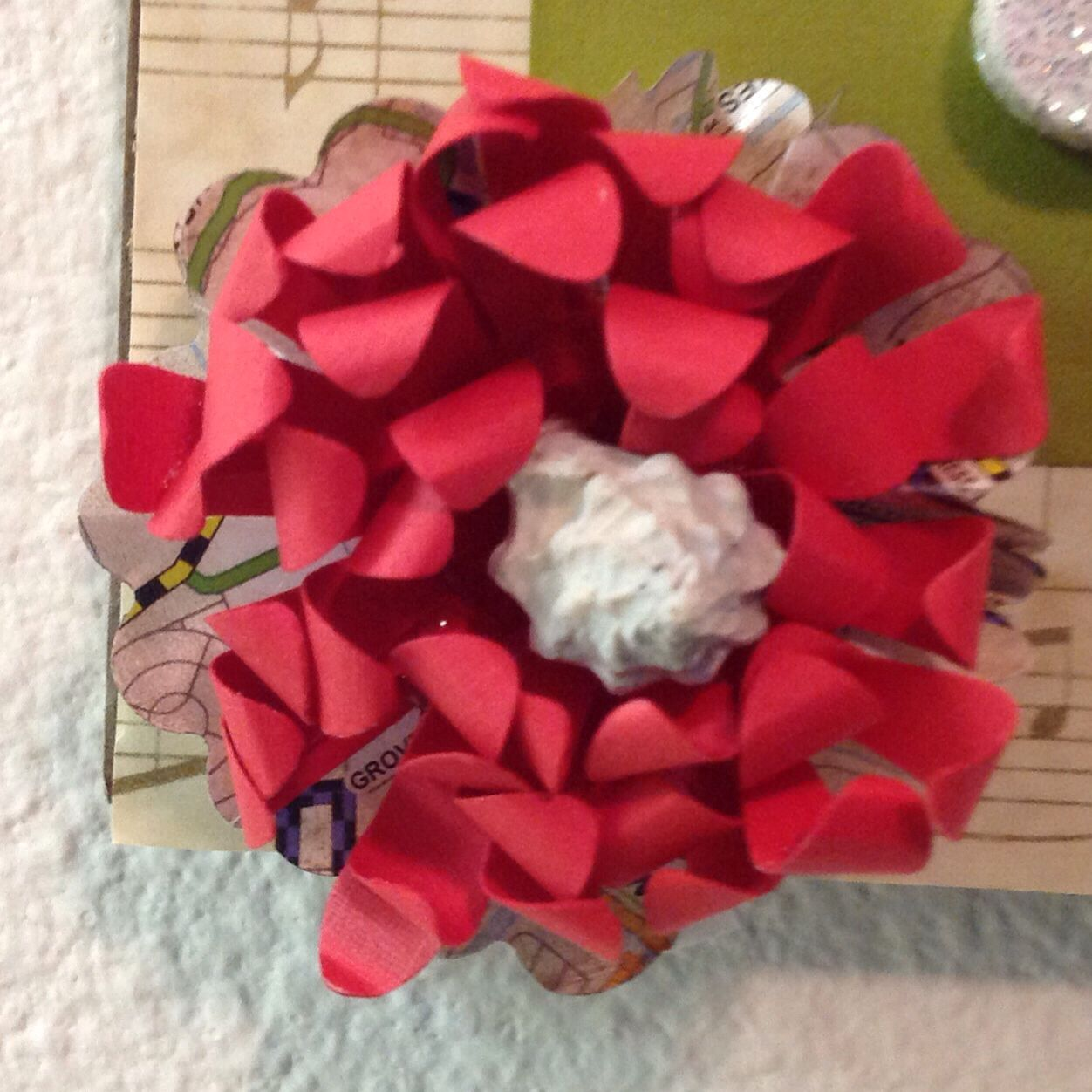 Homemade paper flower with shell center by coletta musick art homemade paper flower with shell center by coletta musick mightylinksfo