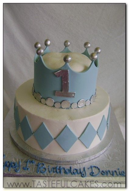 Cake With Crown For Boy : cake two 2 tier little boy baby shower crown prince first ...