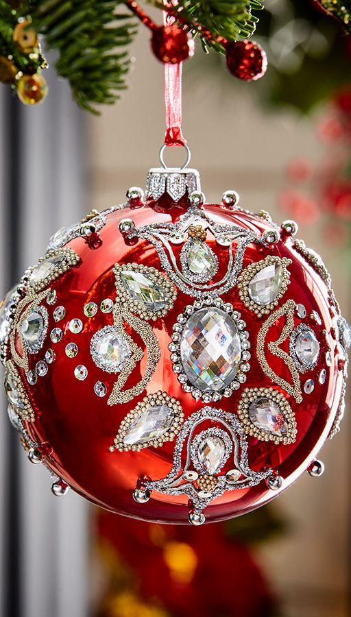 red glitter christmas holiday ornaments red green christmas decor christmasornaments christmas2018 - Red Christmas Ornaments
