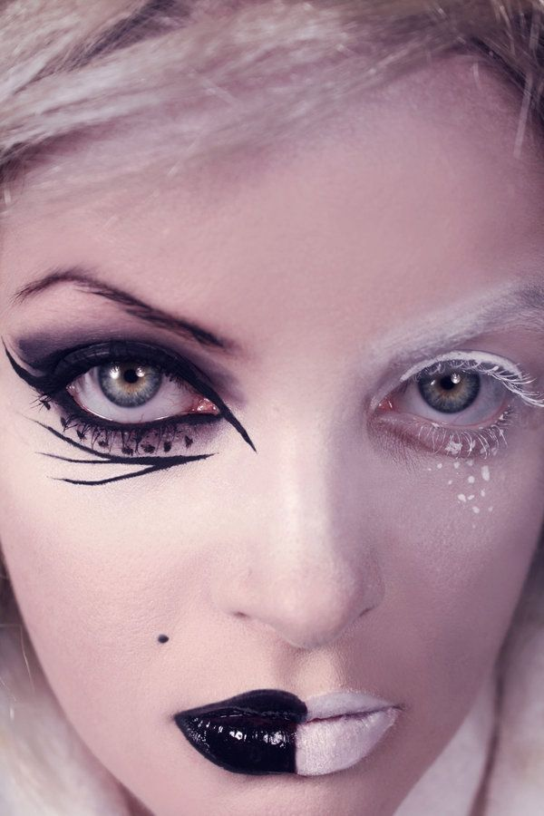 Gothic Black White By Diamondmelt On Deviantart Black And White Makeup White Makeup Color Guard Makeup