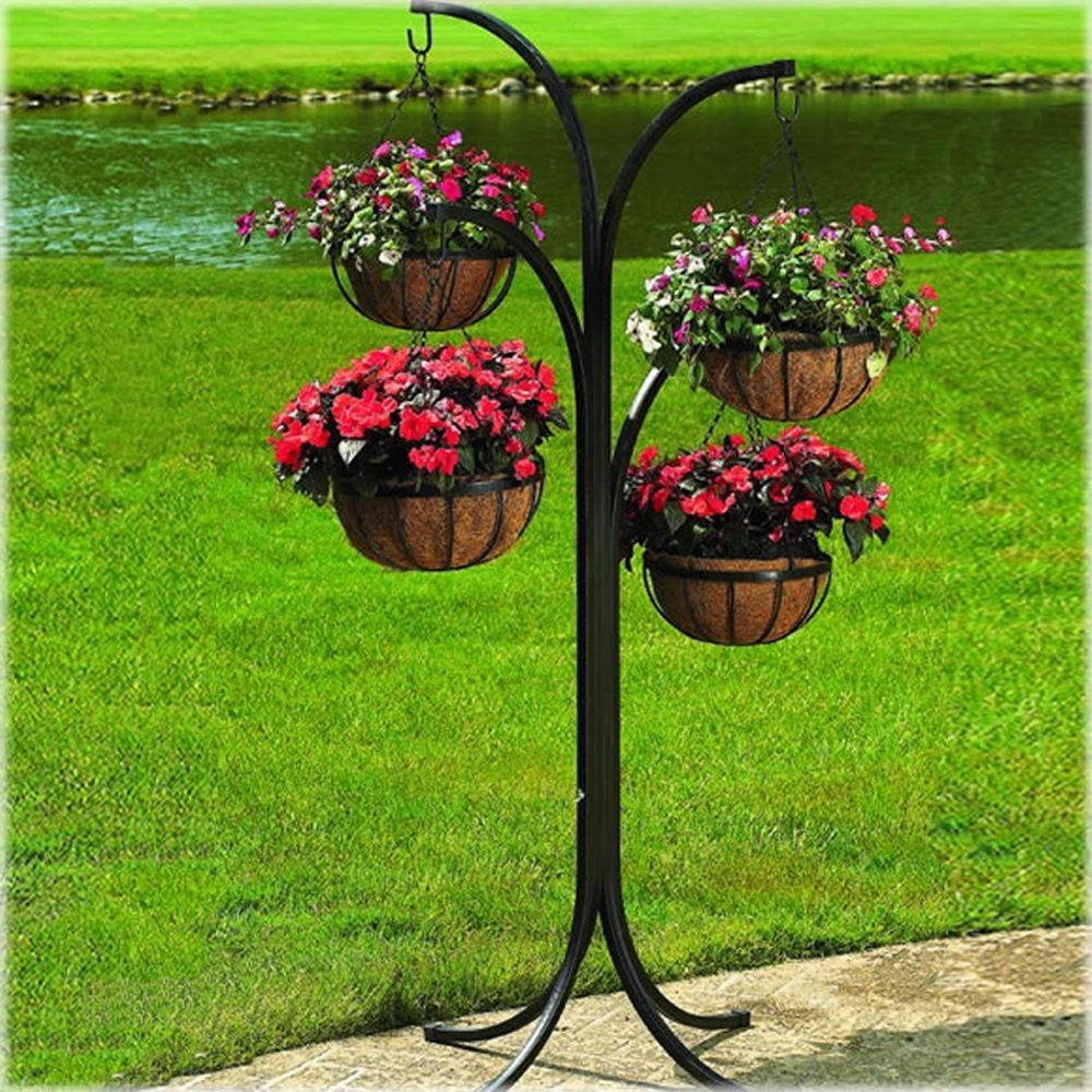 Plant Stand Cobraco 4 Arm Tree With 4 Hanging Baskets Rack