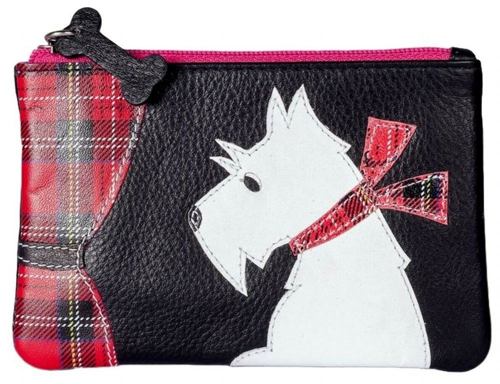 Pink Westie Leather Coin Purse