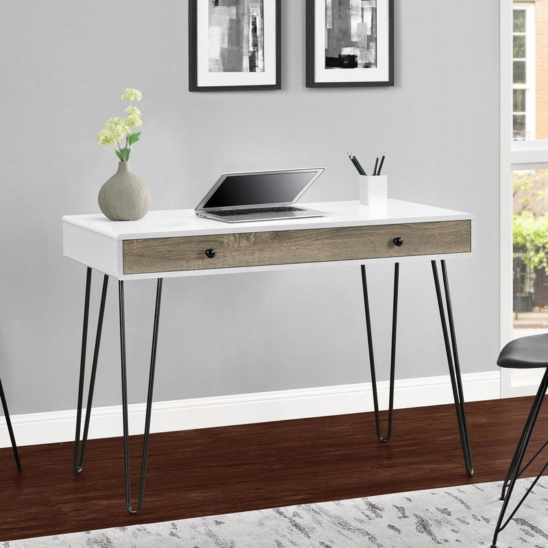 Streamlined Design And Mid Century Modern Style Combine In This Attractive Writing Desk Made From Mdf With Lamina Retro Desk Desk With Drawers Altra Furniture