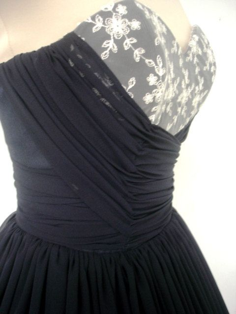 A navy chiffon and ivory lace 50s cocktail dress door elegance50s