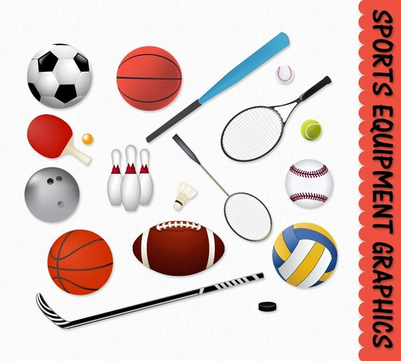 Sports equipment. Clip art clipart graphic