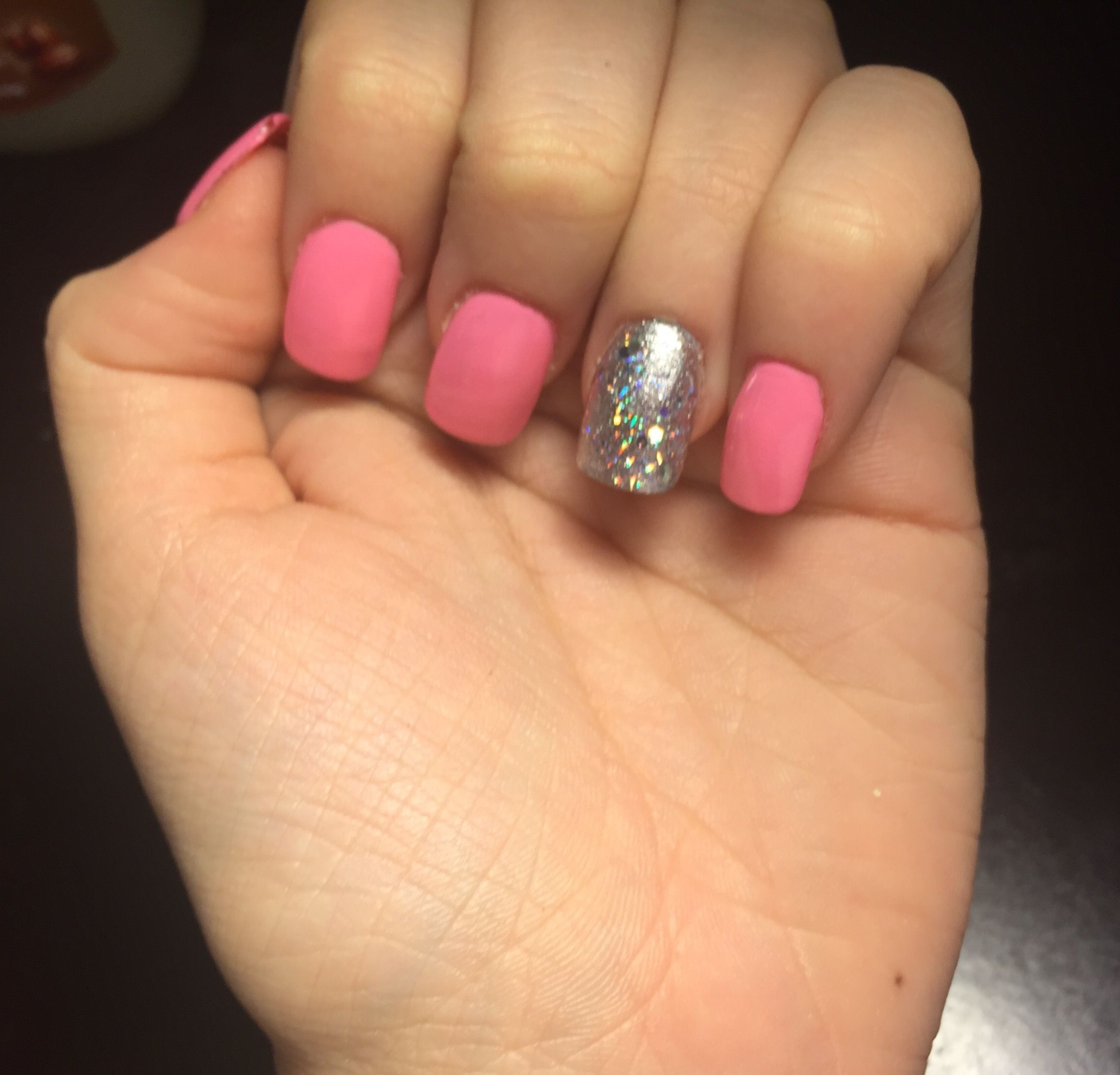 Acrylic nails fill in light pink and sliver glitter | Nails | Pinterest