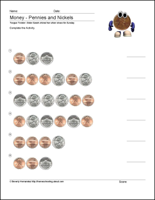 Free Math Worksheets for Counting Pennies | Escolares