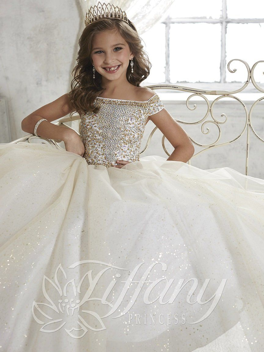 Little girl dresses for weddings  Girls Off The Shoulder Dress by Tiffany Princess   Rapha