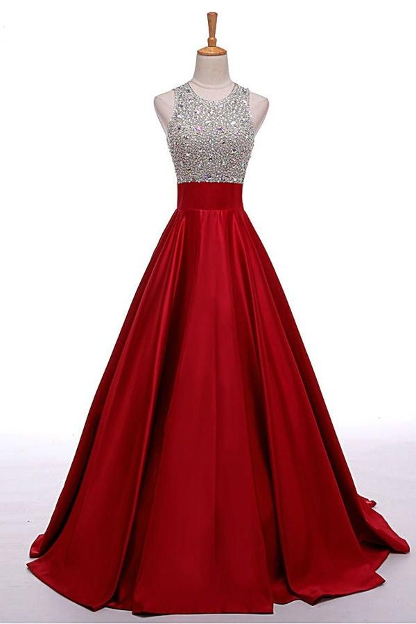 Beaded red Beading A-line Prom Dresses,Cheap Prom Dress,Prom Dresses ...