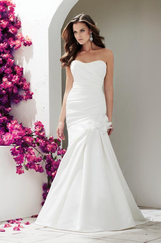 Sweetheart Strapless Asymmetrical Satin Wedding Dress