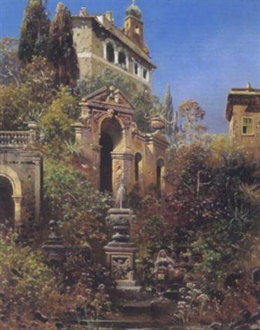 Südliche Landschaft mit Italienerin by Robert Alott