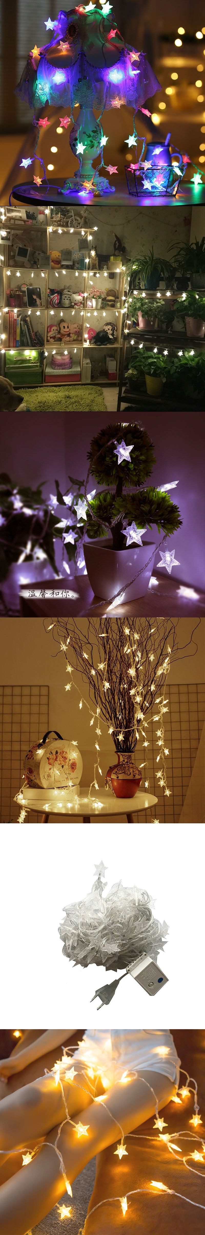 10M 50 LED star string lights for holiday festival party room garden ...
