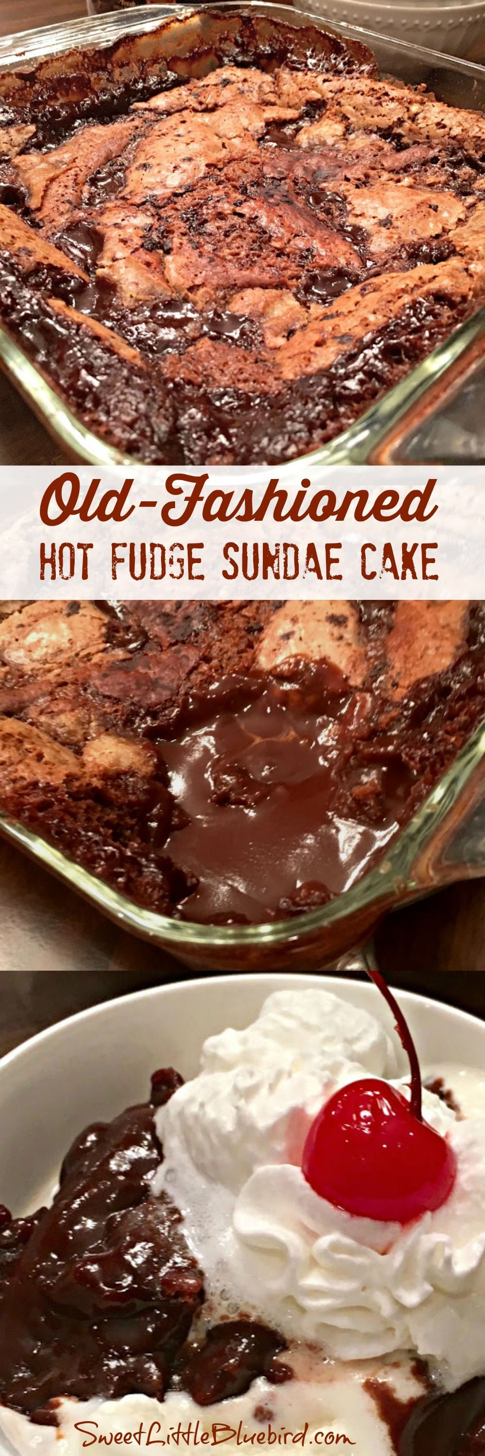 Old-Fashioned Hot Fudge Sundae Cake Today's tried & true is a fantastic oldie but goodie recipe from Betty Crocker - Old-Fashioned Hot Fudge Sundae Cake! OLD-FASHIONED HOT FUDGE SUNDAE CAKE (aka, Chocolate Cobbler, Hot Fudge Pudding Cake) An ooey #chambreparentale