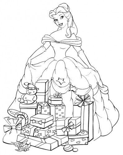 Coloriages De Noël Disney Princesses Coloring Christmas Disney