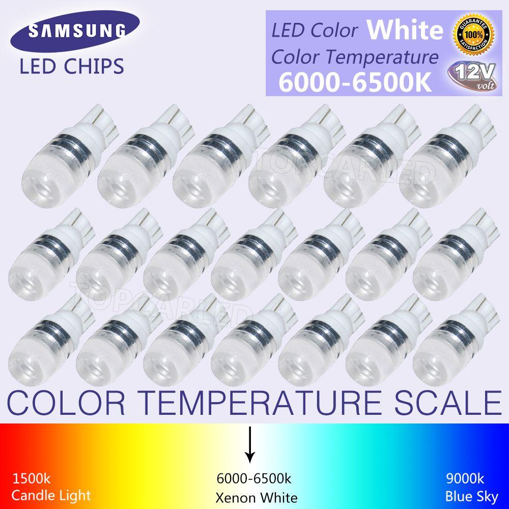 20pcs New White Super Bright T10 Led Light 1 5w W5w 194 192 168 Dc 12v Auto Car Bulb Reading Light Lamp Signal Light Car Bulbs Reading Light T10 Led