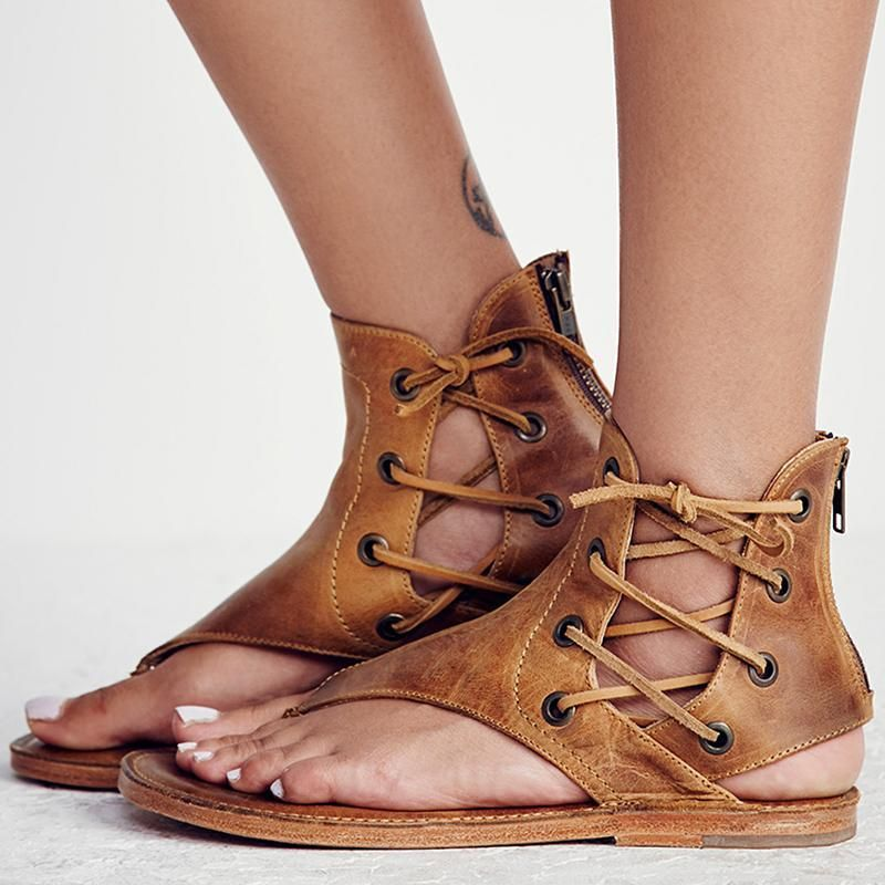 f82f29599 Women s Flat Gladiator Leather Sandals for Summer in 2019