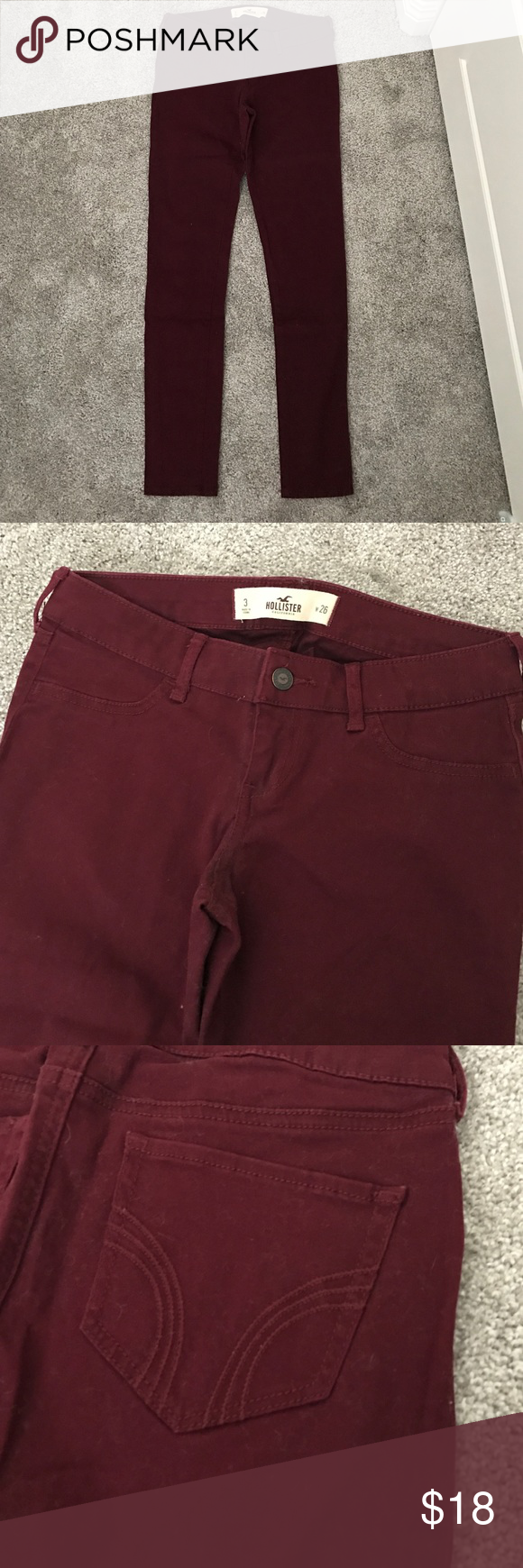Hollister burgundy skinny jeans These dark burgundy skinnies are made in a very soft material that feels slightly velvety. They were only worn a couple times and are a must-have in your winter wardrobe. Hollister Jeans Skinny