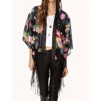 $15.16 Floral Print Fashionable Style 3/4 Sleeve Fringe Irregular Design Loose-Fitting Chiffon Women's Blouse