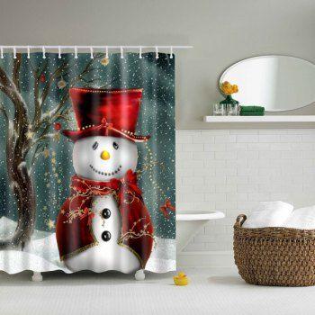 Christmas Snowman Bathroom Waterproof Shower Curtain